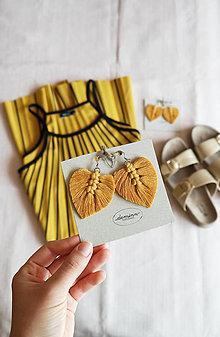 Náušnice - Macramé Náušnice - Horčicová žltá - 10948738_