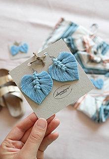 Náušnice - Macramé Náušnice - Baby blue - 10948881_