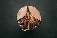 Náhrdelníky - Prívesok ginko dvojlaločné patina - 10949636_