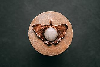 Náhrdelníky - Prívesok ginko s ruženínom - 10949453_