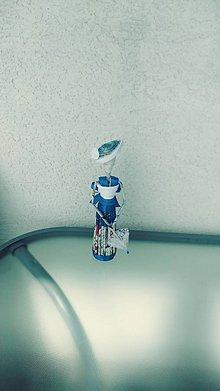 Socha - Figúrka, soška: dáma v modrom - zrecyklované staré letáky a noviny - 10948201_
