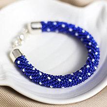 Náramky - Háčkovaný korálkový náramok - Le Grand Bleu - 10949256_