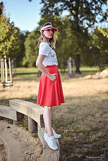 Sukne - Červená kruhová sukňa - 10949661_
