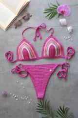 Bielizeň/Plavky - Výpredaj -Háčkované plavky ružové - 10950039_