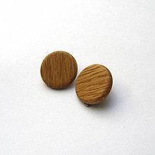 Náušnice - Drevené náušnice klipsňové - dubové vypuklé - 10950201_