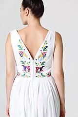 Šaty - Šaty biele vyšívané so šifónovou sukňou - 10952619_