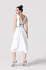 Šaty - Šaty biele vyšívané so šifónovou sukňou - 10952622_