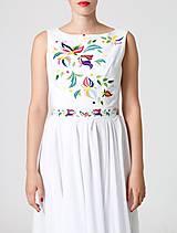 Šaty - Šaty biele vyšívané so šifónovou sukňou - 10952624_