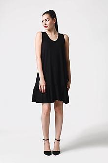 Šaty - Šaty čierne voľné s volánom - 10952560_