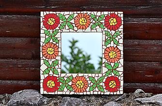 Zrkadlá - Mozaikové zrkadlo FOLKLÓRNE... kvety a štvorlístky - 10953279_