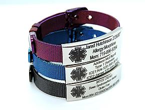 Náramky - BODY ID oceľ - identifikačný náramok (Modrá farba) - 10950538_