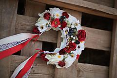Ozdoby do vlasov - Folklórna svadobná kvetinová parta - 10953811_
