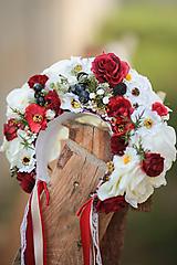 Ozdoby do vlasov - Folklórna svadobná kvetinová parta - 10953812_