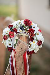 Ozdoby do vlasov - Folklórna svadobná kvetinová parta - 10953813_
