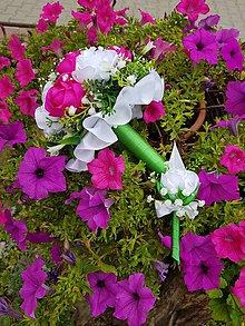 Kytice pre nevestu - Svadobná kytica s umelými kvetmi (cyklamenová) - 10950942_