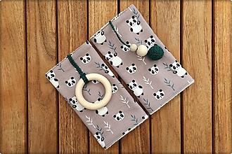 Detské doplnky - Slintáčiky pandy - návleky na ergonomický nosič (Béžové so zelenými doplnkami) - 10951818_