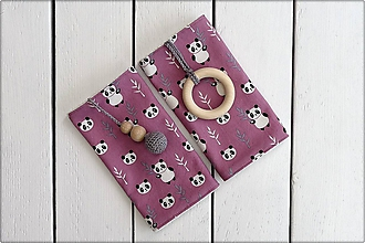 Detské doplnky - Slintáčiky pandy - návleky na ergonomický nosič (Ružové so sivými doplnkami) - 10951822_