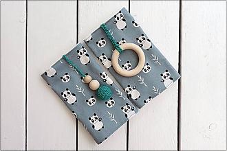 Detské doplnky - Slintáčiky pandy - návleky na ergonomický nosič (Zelené so zelenými doplnkami) - 10951833_