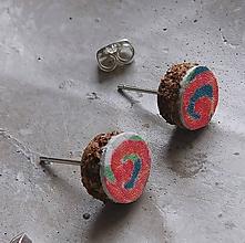 Náušnice - kožené retro napichovačky - 10950874_