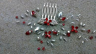 Ozdoby do vlasov - hrebienok - červené kvietky + strieborná - 10951030_