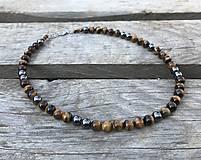 Šperky - Pánsky náhrdelník - tigrie oko, hematit - 10950824_