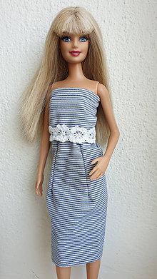 Hračky - Pásikavé minišaty pre Barbie - 10952585_