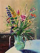 Obrazy - Zátišie s tyrkysovým džbánom - 10950686_