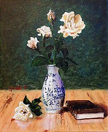 Obrazy - Kvety s knižkou. - 10950682_