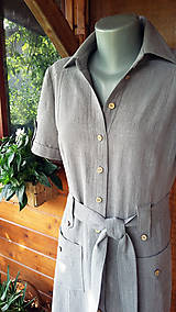 Šaty - Ľanové safari - maxi šaty - 10952885_
