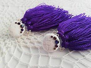 Náušnice - Strapcové náušnice- fialové - 10953590_