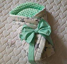 Textil - Rýchlozavinovačka mentolová s minky - 10951264_