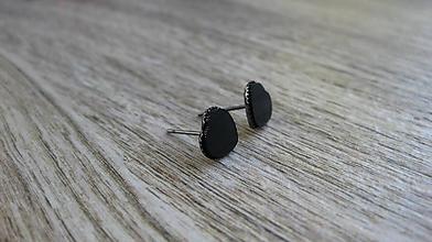 Náušnice - Srdiečka mini napichovačky - akrylové (čierne, č. 2815) - 10951932_