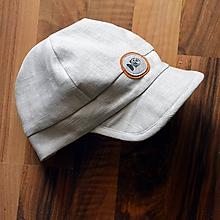 Detské čiapky - Šiltovka Rybička 100% ľan natural biela - 10953799_