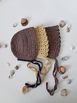 "Detské čiapky - Čepček/Baby bonet ""brown tones of shells"" - 10952237_"