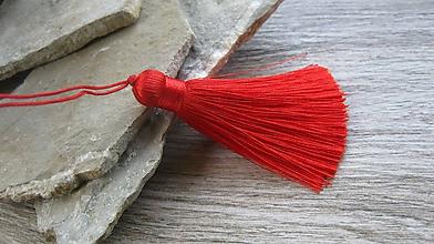 Komponenty - Hustý hodvábny strapec 8 cm, 1 ks (červený) - 10951356_