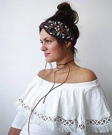 Ozdoby do vlasov - Ľanová turban čelenka  - Dark brown 1 - 10951619_