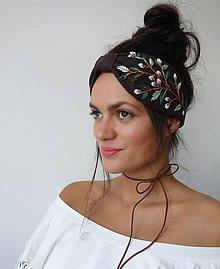 Ozdoby do vlasov - Ľanová turban čelenka  - Dark brown 1 - 10951622_