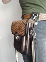 Tašky - Kožená kapsa na opasok dvojitá - 10952601_