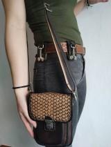 Tašky - Kožená kapsa na opasok dvojitá - 10952603_