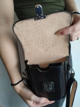 Tašky - Kožená kapsa na opasok dvojitá - 10952604_
