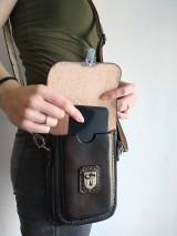 Tašky - Kožená kapsa na opasok dvojitá - 10952605_