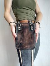 Tašky - Kožená kapsa na opasok dvojitá - 10952606_