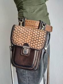 Tašky - Kožená kapsa na opasok dvojitá - 10952600_