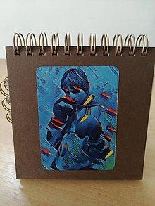 Papiernictvo - Zápisník, poznámkový blok, boxer - modrá - 10953019_