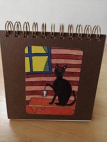 Papiernictvo - Zápisník, poznámkový blok, mačka s myšou - 10953073_
