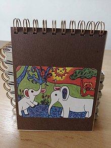 Papiernictvo - Zápisník, poznámkový blok, slony v Afrike - 10953176_