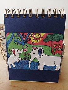 Papiernictvo - Zápisník, poznámkový blok, slony v Afrike - 10953194_