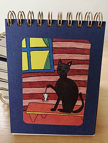 Papiernictvo - Zápisník, poznámkový blok, mačka s myšou - 10953232_