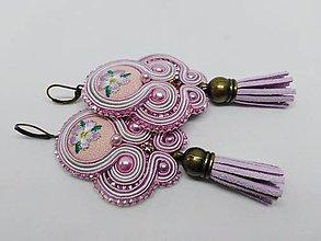 Náušnice - Romantické šujtášové náušničky  (Ružové s šedou) - 10951047_