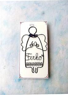 Iné - Pohľadnica s drôtovaným anjelom - 10952179_